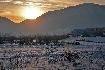 Apus in Piatra Craiului iarna, vazut din Zarnesti