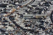 Centru Zarnesti fotografie aeriana de iarna