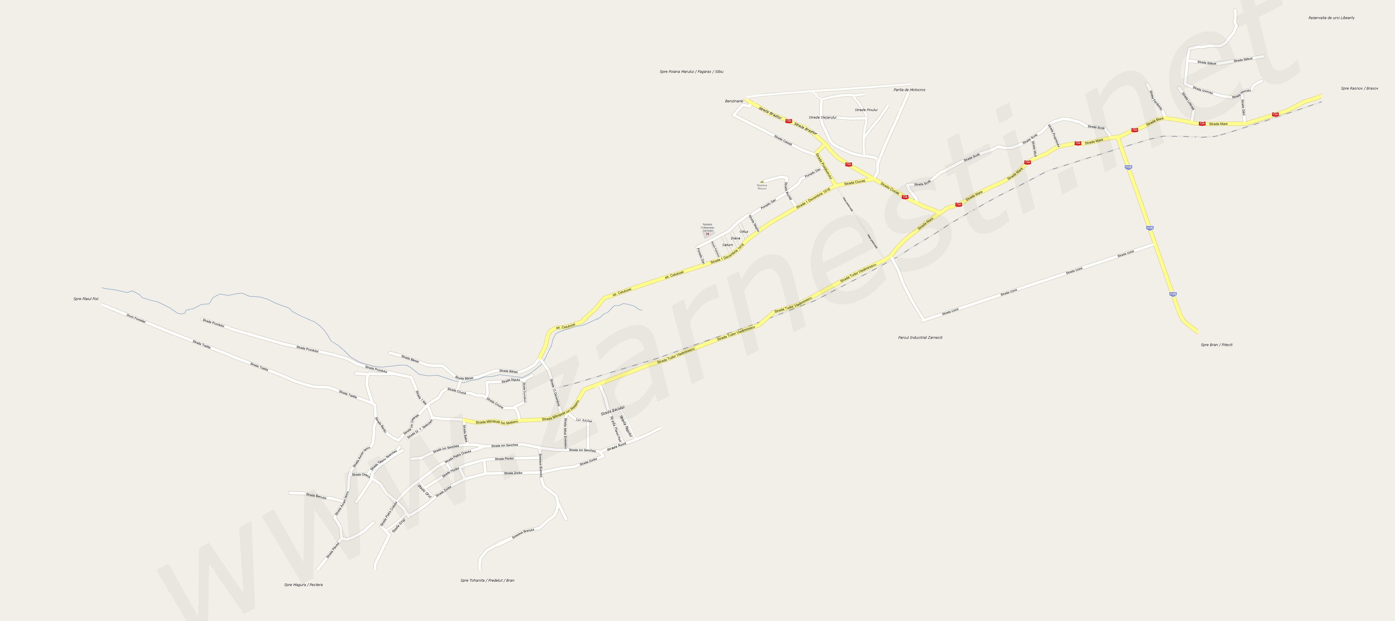 Harta Strazi Zarnesti Harta Rutiera Zarnesti Zarnesti Street Map
