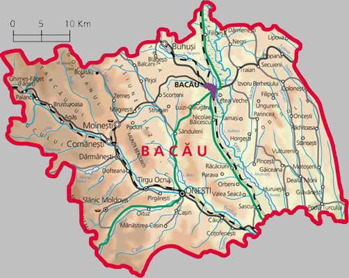bacau County Map