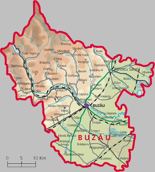 Buzau County Map