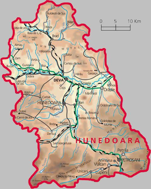 Hunedoara County Map