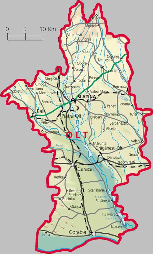 Harta Rutiera Judetului Olt