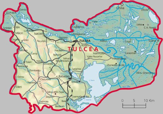 Tulcea County Map