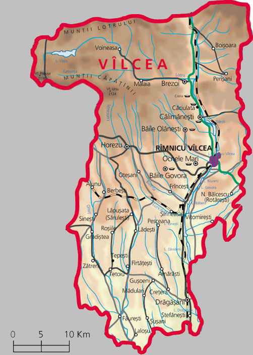 Valcea County Map