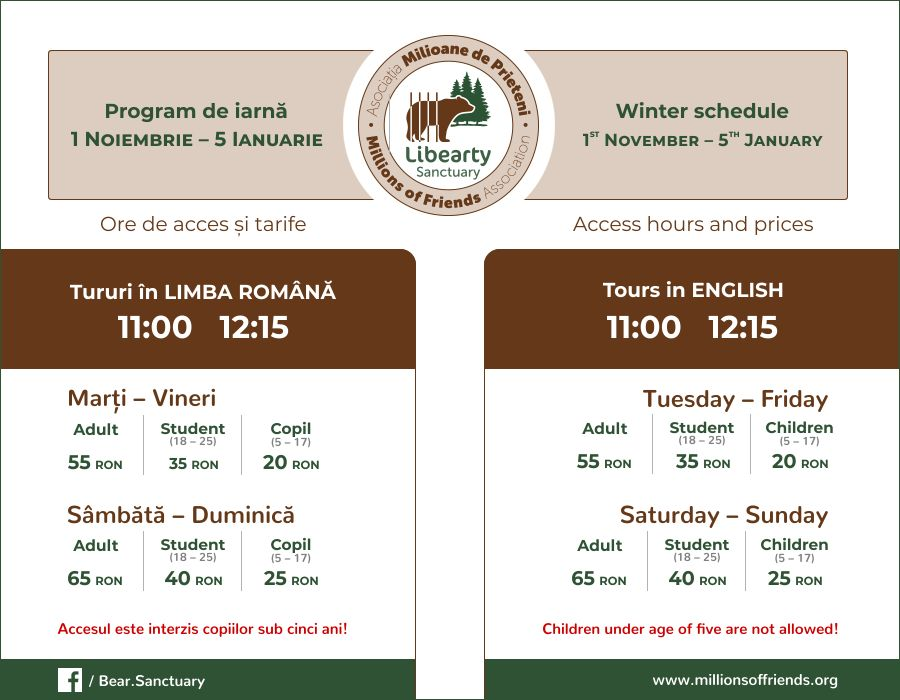 tarife-program-intrare-vara-rezervatia-de-ursi-zarnesti-schedule-prices-bear-sanctuary-winter